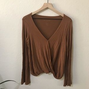 American Eagle Bell Sleeve Wrap Top